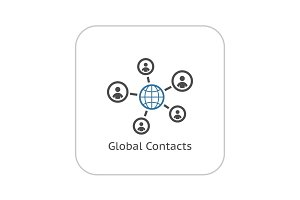Global Contacts Icon. Flat Design.