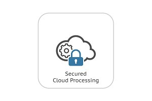 Secured Cloud Processing Icon. Flat Design.