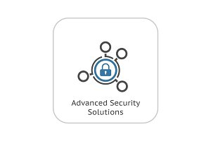Advanced Security Solutions Icon. Flat Design.