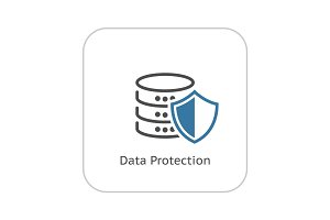 Data Protection Icon. Flat Design.