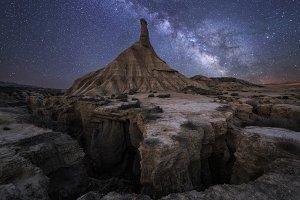 Milky way over Bardenas
