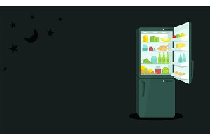 Night food Refrigerator with an open door. Products and household appliances. Dark background