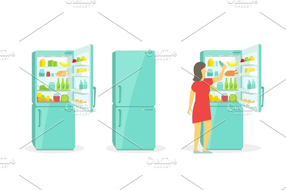 The Woman Takes In The Fridge Refrigerator Products Household Appliances