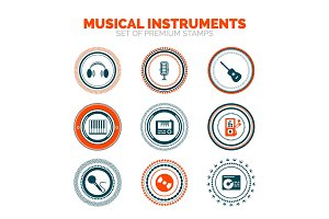 Set of musical instruments vector premium stamps
