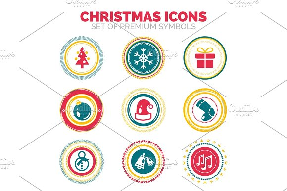 Set Of New Year And Christmas Celebration Holiday Round Stamps