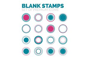 Set of blank round stamps collection