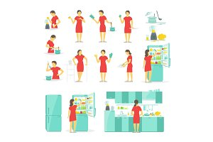 A woman in the kitchen set of different poses. Preparation food by prescription. Dishes and tableware. Fridge blender and saucepan