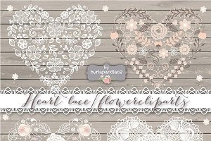Heart lace/flower cliparts