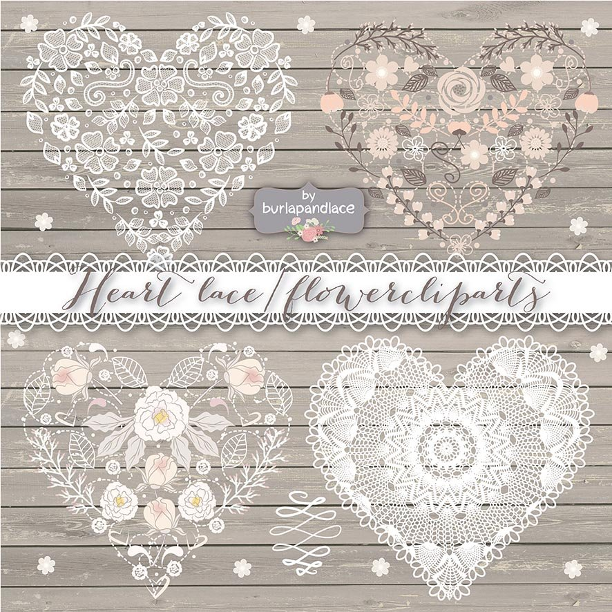 Heart Lace Flower Cliparts Illustrations Creative Market