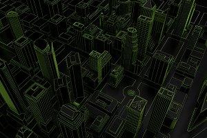 dark low poly city green mesh