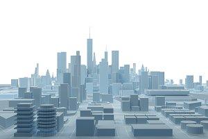 low poly modern wireframe city