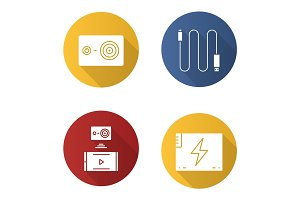 Action camera flat design long shadow icons set