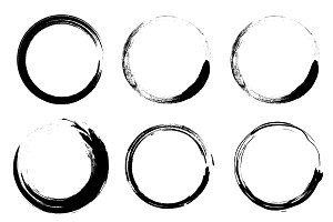 Set of vector grunge circle