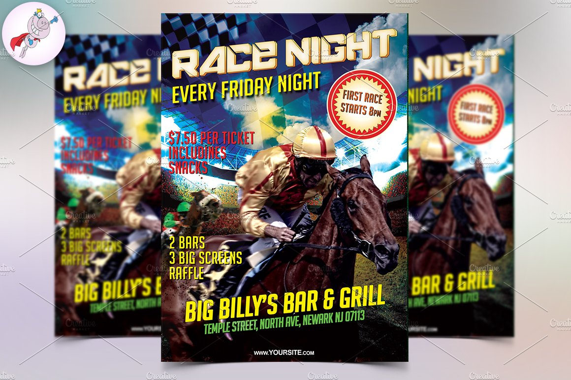 horse race night flyer template flyer templates creative market