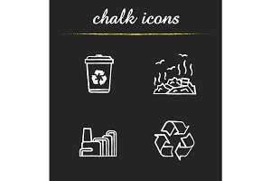 Waste management chalk icons set