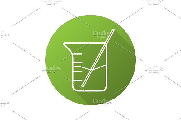 Beaker with rod and liquid. Flat linear long shadow icon