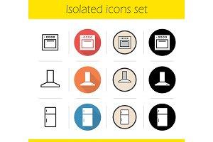 Kitchen interior icons set