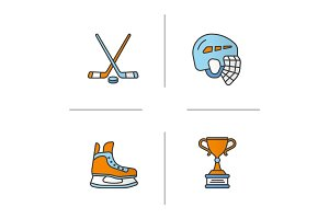 Hockey equipment color icons set