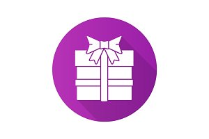 Gift box flat design long shadow icon