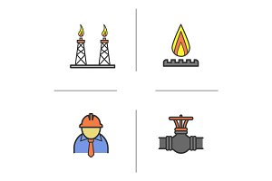 Industrial complex color icons set
