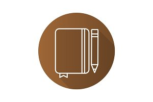 Diary notebook with pencil. Flat linear long shadow icon