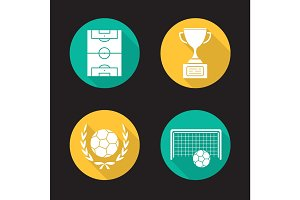 Soccer championship flat design long shadow icons set