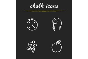 Sport and fitness chalk icons set