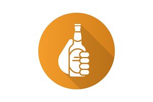 Hand with beer bottle. Flat design long shadow icon