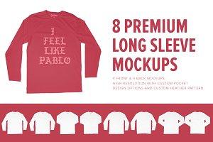 8 Premium Longsleeve T-Shirt Mockups