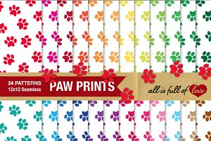 Paw Print Pattern Digital Paper Pack