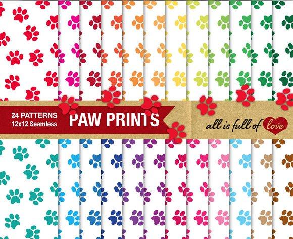 Paw Print Digital Paper Pack