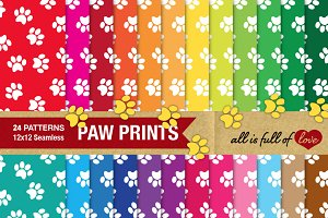 Animal Paw Print Background Paper