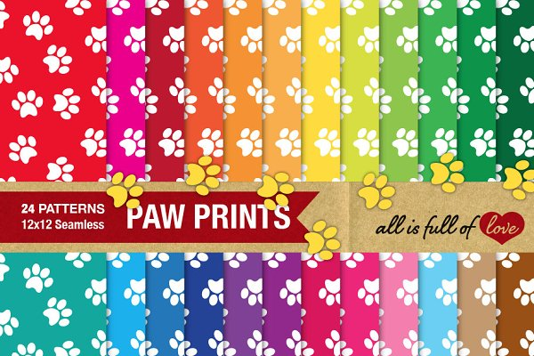 Animal Paw Print Background Paper