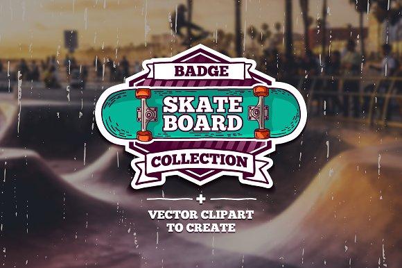 Set of colored skateboard badges