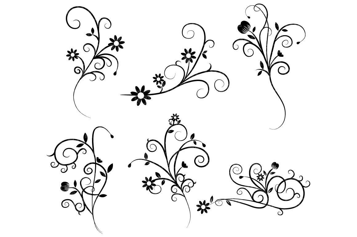 Flower Flourish Swirl Clipart ~ Illustrations ~ Creative