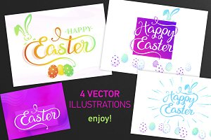 SET 4 / Multicolor Happy EASTER arts