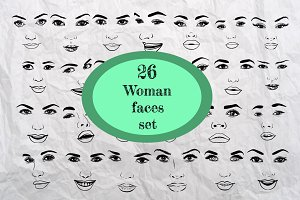 26 Woman faces set.