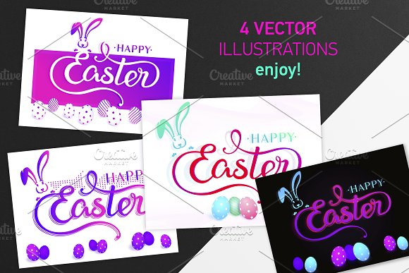 SET 4 Pink Flat Happy EASTER Arts