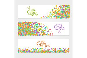 Vector horizontal Easter banners set