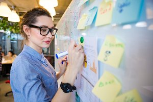 Woman writing business plan on whiteboard