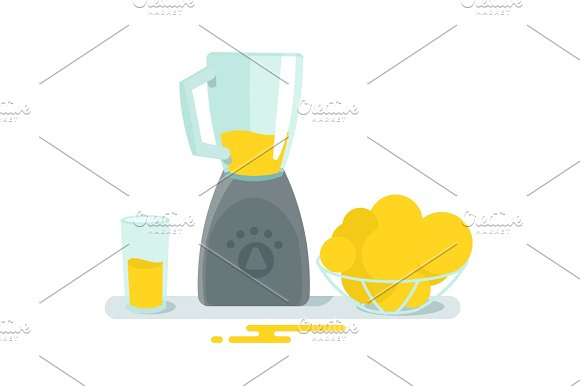 Blender Mixer Glass And Fruit On The Table Cooking Juice Health Home Appliances