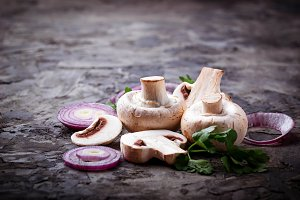 Mushrooms and red onion.