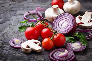Mushrooms, tomatoes and red onion.