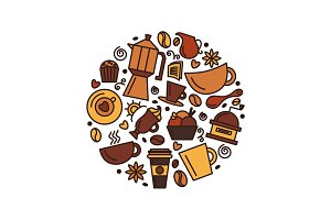 Set of coffee theme. Line art draw icons in the circle.Vector il