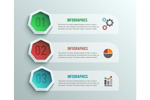 Set business infographics banner ori
