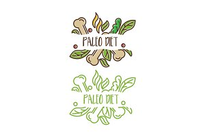 Concept logo for paleo diet with bones,leaves. Vector illustrati