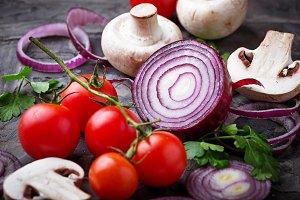 Mushrooms, cherry tomatoes and onion