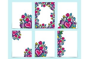 Set of creative holidays journaling cards. Valentine's Day poste