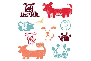 Set of concept hand drawn icons logo template with dogs . Vector