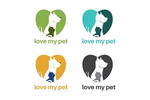 Template logo design with dog and cat in heart shape for pet the